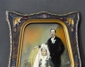 Antique Picture Frame, Convex Bubble Glass, Hand Tinted Wedding Portrait, Art Deco Carved Wood with Gold Gilt Gesso
