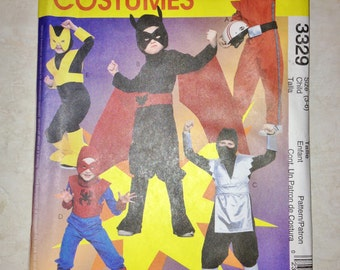 Uncut McCall's Pattern 3329 Size 3 4 5 6 Super Hero Costumes - From 2001