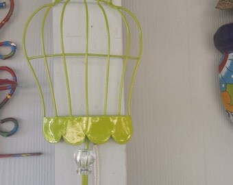 small wired hanging  half rack bird  cage, with  knob decor