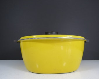 Cathrineholm Large Enamel Pan // Vintage Mid Century Danish Modern Yellow and Black Cooking Pot Covered Casserole Made in Holland