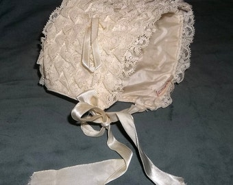 Vintage Newborn Baby Cap Bonnet, Hat, Lots of Lace