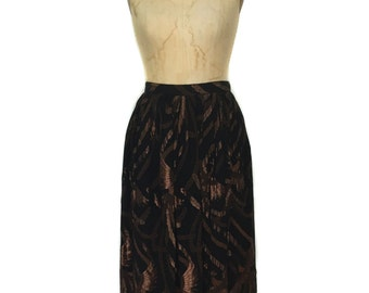 vintage 1980s metallic phoenix skirt / Evan Picone / black bronze / metallic lurex chiffon / women's vintage skirt / size 10