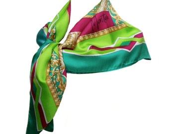 vintage CLAUDE MONTANA silk scarf / square scarf / head scarf / neck scarf / vintage accessories