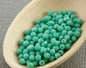 Turquoise Green Blue Czech Fire Polished Beads 4mm (50) Polish Faceted Opaque Glass Small NR3