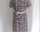 RESERVED - Vintage womens summer dress, brown blue plaid day dress, cotton house dress, summer robe, housecoat