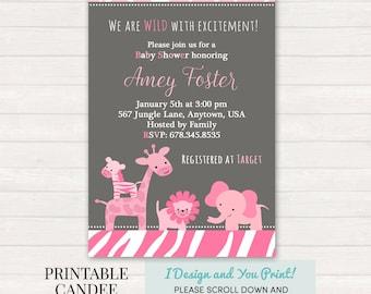Girl Jungle Baby Shower Invitation, Pink and Grey Baby Shower, Girl Safari Baby Shower, It's a Girl Shower, Jungle, DIY Custom Printable