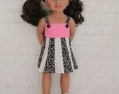 Totally Summer Panel Dress Pink White & Black- Dolls Clothes for Australian Girl dolls