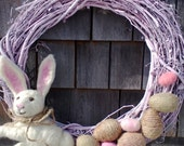 Needle Felted Easter Wreath Wool Bunny With Hand Made Eggs READY TO SHIP!!!