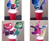 1 - Inside Out Centerpiece - Joy Sadness Anger Disgust Fear Bing Bong - Inside out birthday party decoration