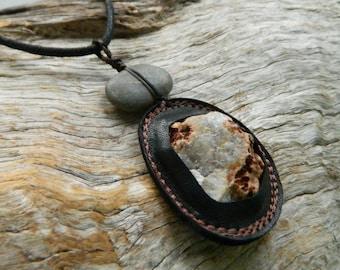 Raw Quartz and Riverstone Pendant Necklace Australian Gemstone Jewelry Raw Crystal Pendant