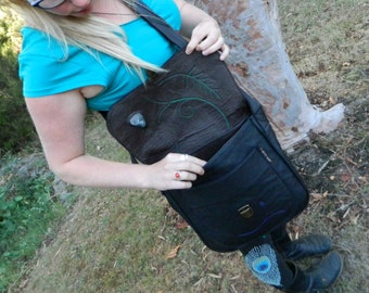Black Leather Satchel Large Recycled Leather Shoulder Bag with inlaid Clear Quartz Crystal and Botanical Detailing