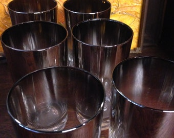Set of 6 Dorothy Thorpe Style Highball Glasses / Mid Century Barware / Silver Rimmed Glasses