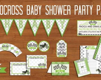 Motocross Baby Shower, Printable Party Pack, Motocross Shower, Motocross Party Printable, Motocross Baby Shower, Motocross Party Decorations