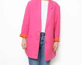 Vintage pink linen women blazer /outerwear coat jacket orange