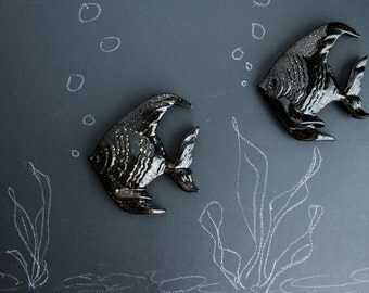 Vintage Fish Wall Plaques Tropical Ceramic Black and Gold Wall Decor