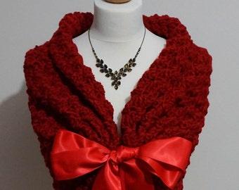 Red Wedding Bridal Shawl, Romantic Wedding Cape, Bridesmaid Gift Dress Cover, Winter Wedding Wrap, Crochet Shawl, Wedding Shawl