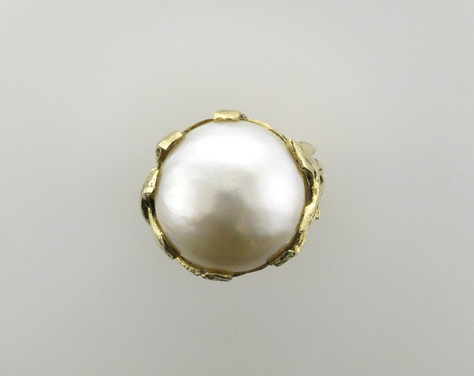 Mabe Pearl Ring; Pearl Statement Ring; Mabe Pearl ring with Stylized Branch Mounting; Estate Pearl Ring; Yellow Gold Pearl Ring