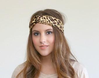 Leopard Stretch Turban, stretch headband C1