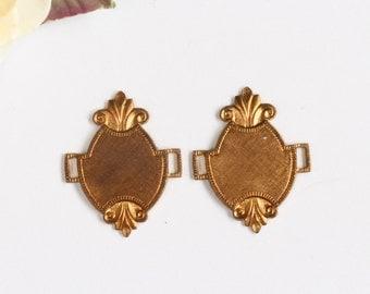 Vintage Etruscan DECO Old Brass Ornate Pendant Connectors (2)