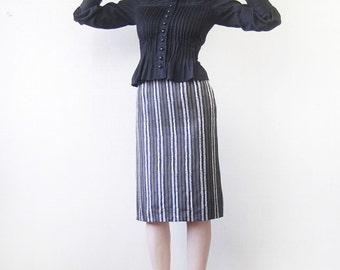 Antique vintage black pintuck pleat thick cotton long sleeve shirt blouse S