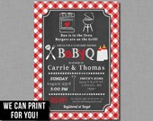 Red Baby Q invitations baby shower gender neutral coed bbq plaid