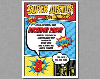 Superhero Birthday invitation boy comic pop art MC01 Digital or Printed