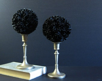 Black Paper Ball of Stars No11 - Black Paper Sculpture on Silver Pedestal - Origami Kusudama Ball - Black Home Decor - Modern Art Sculpture