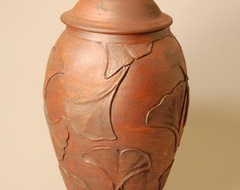 Lidded Vessel Handcarved Ginkgo Leaves KHCU1356 Jar Ceramic Large Adult Artistic Handcrafted Original Unique Nature Cremation Ashes