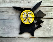 Pikachu Vinyl Record Clock ~ Upcycled Recycled Repurposed, Handmade Silhouette Portrait, Pokemon Go Shadow Art, Unique Gifts for Men