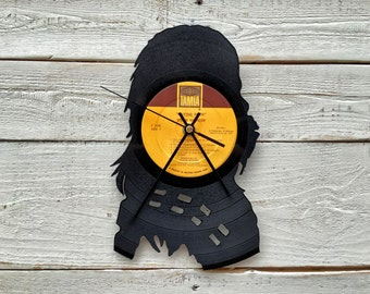 Wookie Clock | Vinyl Record • Upcycled Recycled Repurposed • Star Wars • Silhouette • Unique Gift • Shadow Art