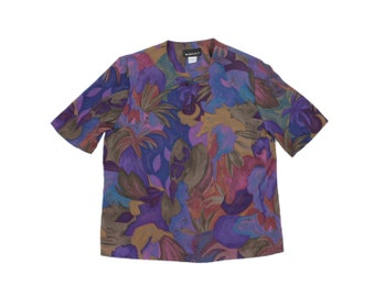Art Blouse - Floral Purple Shirt Abstract Asian Top ARTSY SHORT SLEEVE Top Frog Toggle Mandarin Asian Top Women Pretty Funky Art Attack