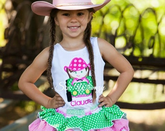 Girl Tractor Applique Shirt and ruffle skirt- Farm girl Dress- Country Girl Shirt and Ruffle skirt- Cowgirl Dress- Flower girl Dress- Farm