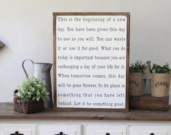 This Is The Beginning Of A New Day, Wood Sign, Wood Wall Art, Inspirational Sign, Framed Wall Art, Hand Painted Wood Sign, Rustic Wood Sign