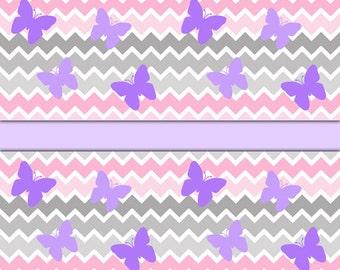 PINK GREY CHEVRON Ombre Wallpaper Border Decal Purple Butterfly Baby Girl Nursery Room Wall Art Stickers