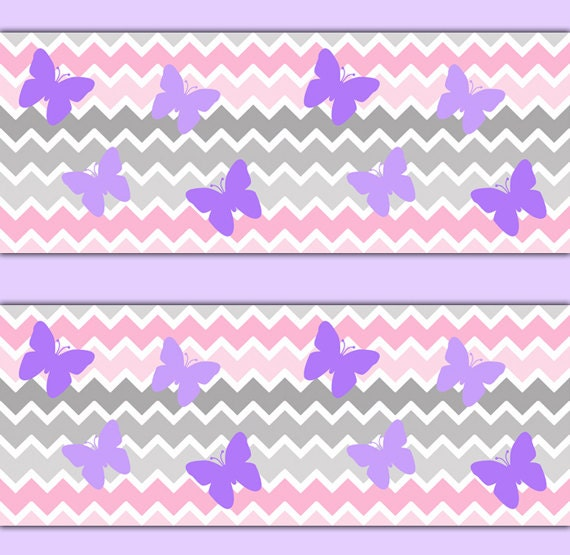 Pink grey chevron ombre wallpaper border decal purple - Purple ombre wall ...