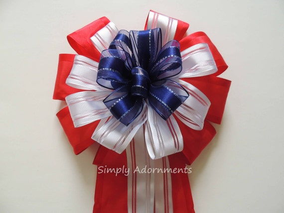 Fourth of July Wreath Bow July 4th Party decorations Patriotic Wreath bow Red White Blue Bow Independence day Party decor Patriotic gift bow