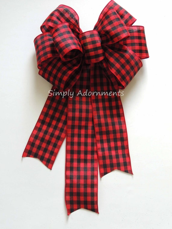 Black Red Plaid Bow Buffalo Plaid Wreath Bow Christmas Cabin Decor Bow Country Plaid Christmas Bow Red Black Tartan Swag Buffalo Gift Bow