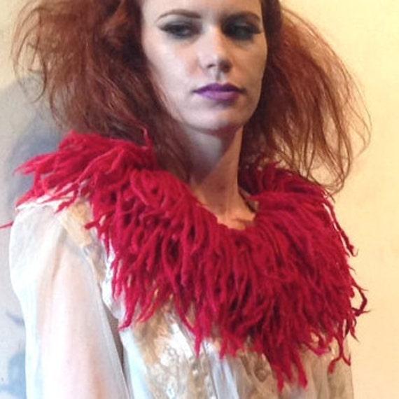 Fringe Festival Felted Wool Faux Fur Collar Scarlet Valentine Red Handmade Scarf Stole