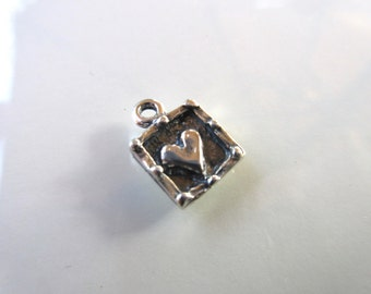 Sterling Silver 925 Artisan style heart charm oxidized finish--10mm x 13mm-- boho chic  Made in the USA charm bracelets