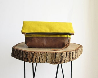Yellow canas and Leather clutch, Clutch bag, Clutch purse, Fold over bag, Mustard yellow, Rustic Leather, Real Leather