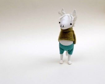 White Muslin Pony - Handmade plush pony wearing green woollen pullover and felt pants.