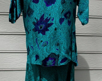 vintage 80's elegant silk 2 piece teal dress by Nora Noh excellent condition
