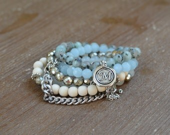 The Robin Stack - Beaded Stretch Bracelet Stack - Aqua Bracelet Stack Set -  Light Blue Bead Bracelet - Arm Candy Bracelets - Charm Bracelet