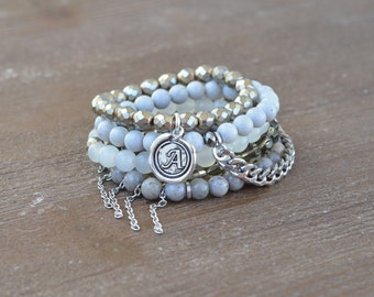 The Smoke Stack - Beaded Stretch Bracelet Stack - Bracelet Stack Set - Gray and Silver Bead Bracelet - Arm Candy Bracelets - Charm Bracelet