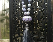 Periwinkle Blue Abalone Shell Mala Beads Lampwork Tassel Necklace