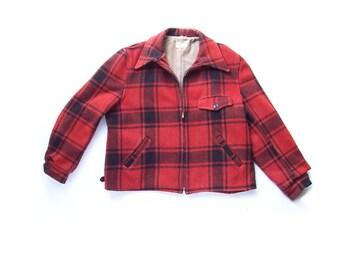 Rustic Red Black Wool Hunting Lumberjack Jacket Vintage