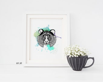 Tiger watercolor ,wall art print, nature watercolor print, home wall decor, zentangle wall art, ink illustration