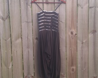 XS S Extra Small Vintage 70s 80s Sequin Disco Tube Top Metallic Silver Spaghetti Strap Sundress Party Holiday Dress