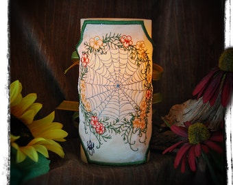 Web Of Life Embroidered Candle Wrap For LED Flameless Pillar Candles.