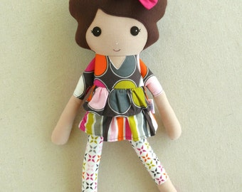 Fabric Doll Rag Doll Brown Haired Girl in Pink and Brown Polka Dotted Ruffled Dress